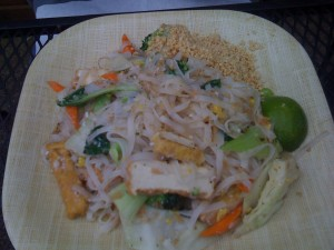 Ezra's veggie rice noodles, which he pronounced very good. My head was so deeply buried in my sandwich that I forgot to ask for a taste.